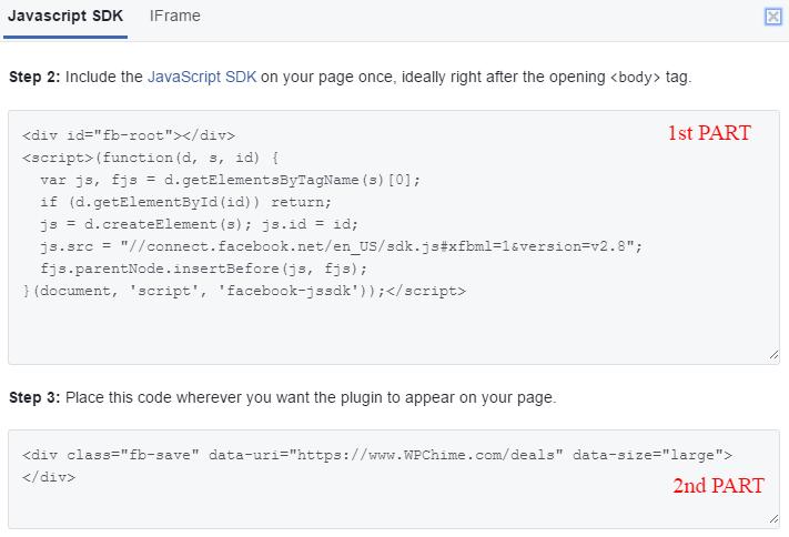 How to add Facebook save widget to WordPress