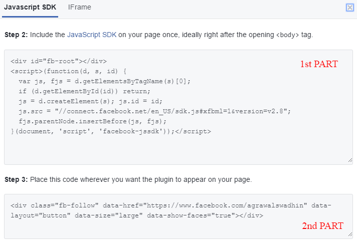 Code to add Facebook follow button