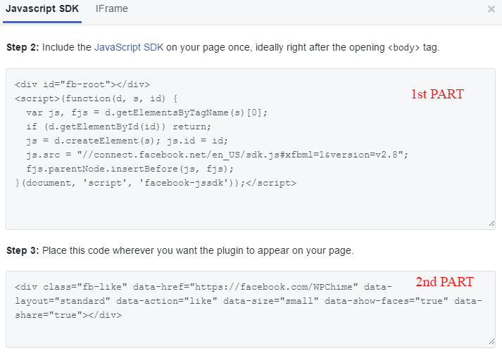 Code to add Facebook page like and share buttons for WordPress