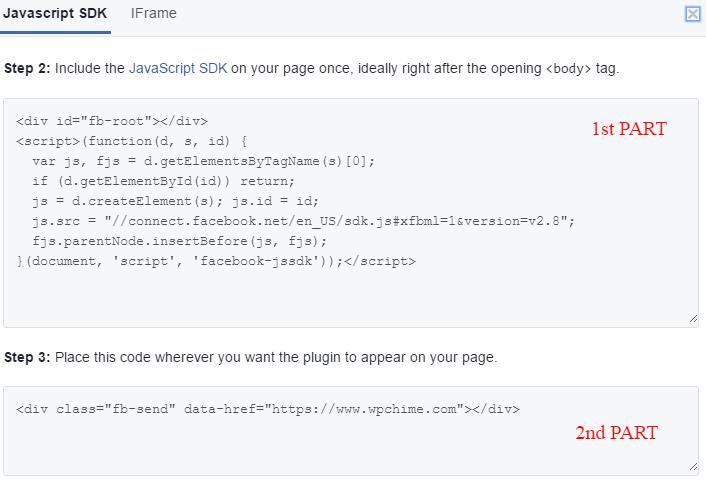 Code to add Facebook send button to WordPress blog