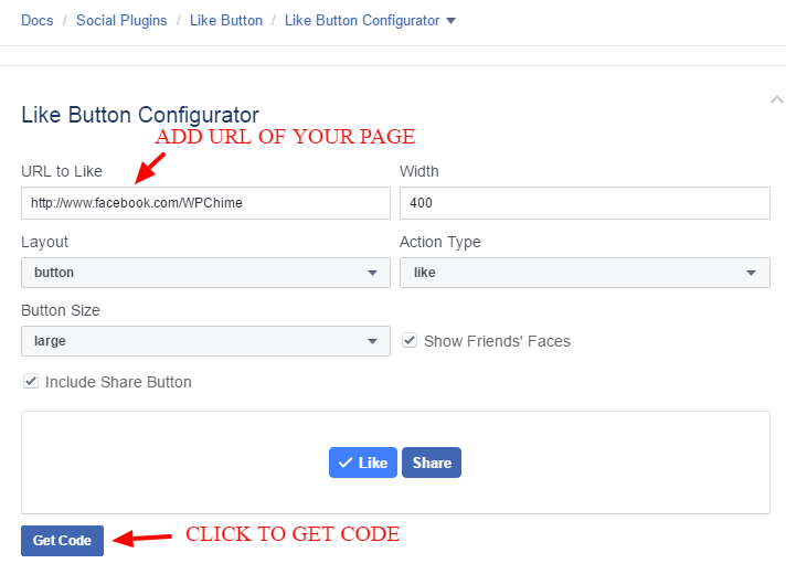 How to add Facebook like & share buttons for Facebook Page on WordPress