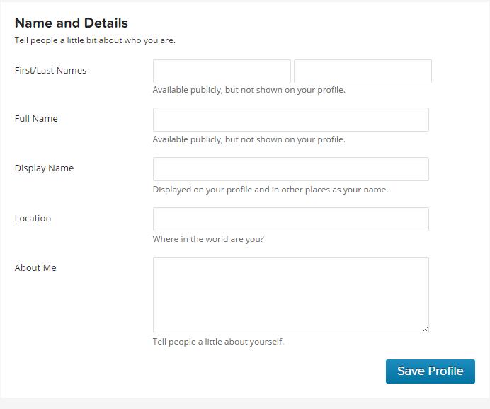 How to add gravatar profile details like location, website URL