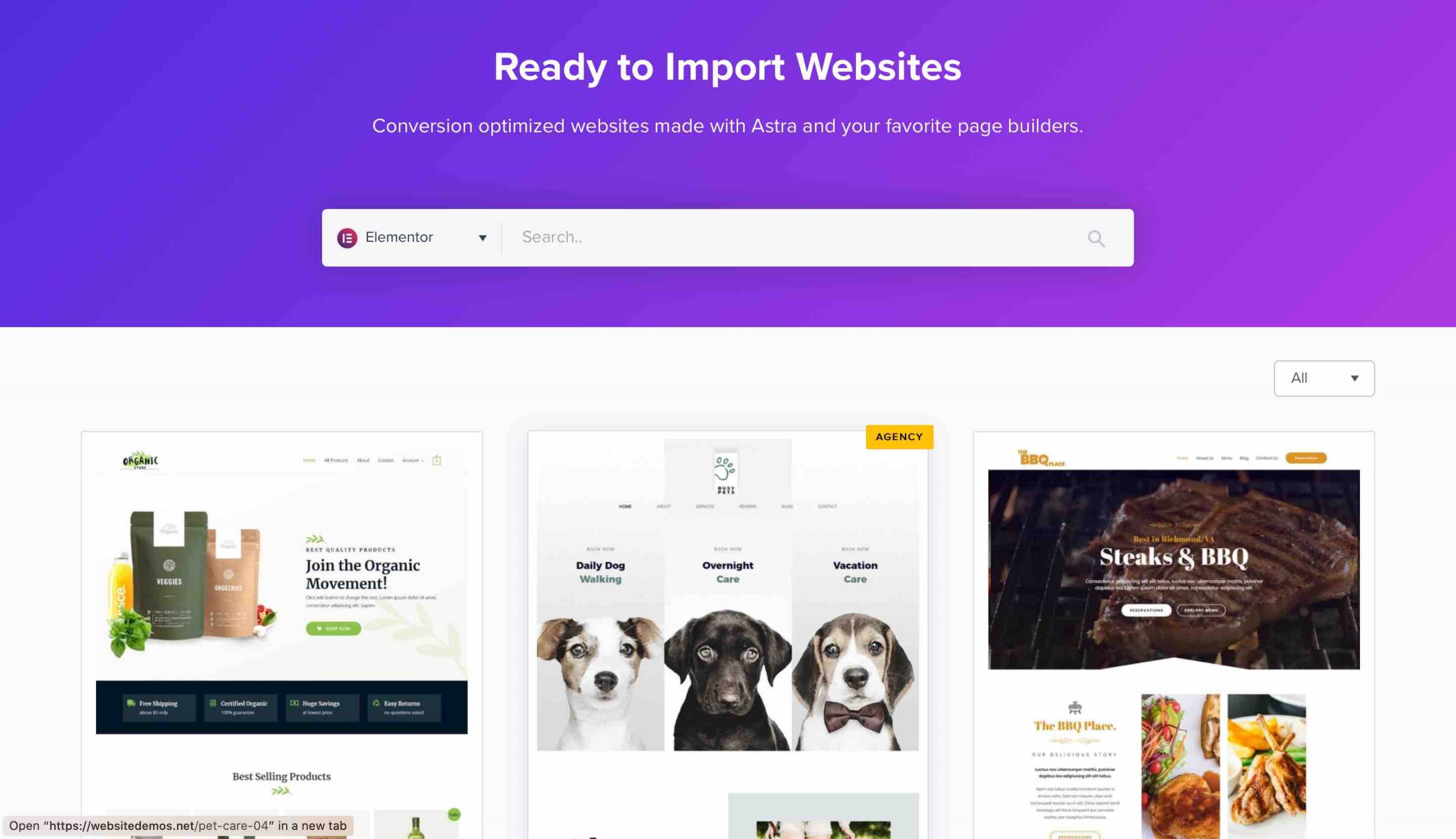 Pre built websites library of Astra